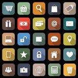 Icone piane di commercio elettronico con ombra lunga Immagini Stock Libere da Diritti