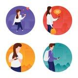 Icone piane di comunicazione illustrazione vettoriale