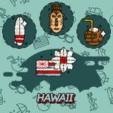 Icone piane di concetto delle Hawai Fotografia Stock Libera da Diritti