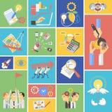 Icone piane di concetto di lavoro di squadra di affari messe illustrazione di stock