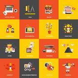 Icone piane di concetto di progetto illustrazione vettoriale