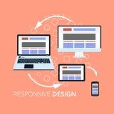 Icone piane di concetto di progetto per i servizi del cellulare e di web Icone di Apps per Internet che annuncia il desig rispond Fotografie Stock