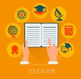 Icone piane di concetto di progetto per istruzione Concetto di formazione on-line Fotografia Stock