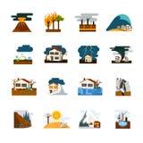 Icone piane di disastro naturale messe illustrazione vettoriale