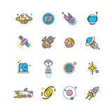 Icone piane di esplorazione dell'universo con i pianeti ed i razzi illustrazione vettoriale