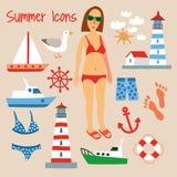 Icone piane di estate della spiaggia messe Illustrazione disegnata a mano di vettore Fotografie Stock