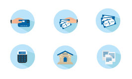 Icone piane di finanza Fotografia Stock
