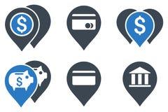 Icone piane di glifo degli indicatori della mappa della Banca Fotografie Stock Libere da Diritti
