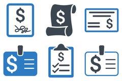 Icone piane di glifo dell'assegno di pagamento Immagini Stock Libere da Diritti