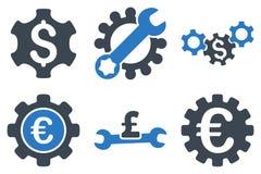Icone piane di glifo delle regolazioni finanziarie Fotografia Stock