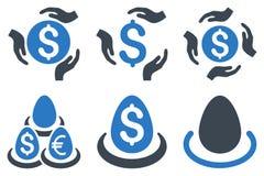 Icone piane di glifo di cura del deposito del dollaro Immagini Stock