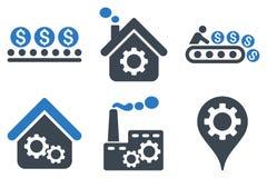 Icone piane di glifo di produzione industriale Immagine Stock