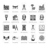 Icone piane di glifo di vettore di ingegneria di indagine geodetica Attrezzatura di geodesia, tacheometer, teodolite Ricerca geol illustrazione di stock
