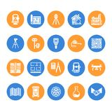 Icone piane di glifo di vettore di ingegneria di indagine geodetica Attrezzatura di geodesia, tacheometer, teodolite Ricerca geol royalty illustrazione gratis