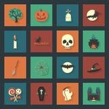 Icone piane di Halloween messe Fotografie Stock Libere da Diritti