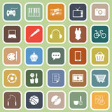Icone piane di hobby su fondo verde Immagini Stock Libere da Diritti