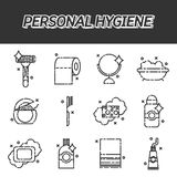 Icone piane di igiene personale messe Immagine Stock