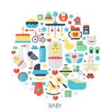 Icone piane di infographics del bambino nel cerchio - colori l'illustrazione di concetto per la piccola copertura del bambino del Immagine Stock Libera da Diritti