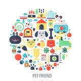 Icone piane di infographics dell'amico dell'animale domestico nel cerchio - colori l'illustrazione di concetto per la copertura d royalty illustrazione gratis