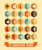 Icone piane di istruzione Fotografia Stock