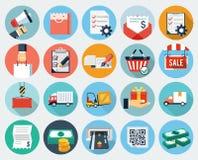 Icone piane di logistica e di commercio elettronico Immagini Stock Libere da Diritti