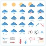 Icone piane di meteorologia Fotografia Stock