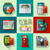 Icone piane di metodi di pagamento messe Immagine Stock