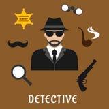 Icone piane di professione della spia e dell'agente investigativo Immagine Stock Libera da Diritti