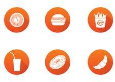 Icone piane di progettazione degli alimenti a rapida preparazione messe elementi del modello per le applicazioni del cellulare e  illustrazione vettoriale