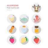 Icone piane di progettazione degli allergeni messe Illustrazione di Stock