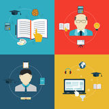 Icone piane di progettazione di istruzione, online di apprendimento e di ricerca Immagine Stock Libera da Diritti