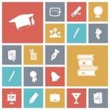 Icone piane di progettazione per istruzione Fotografia Stock Libera da Diritti