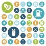 Icone piane di progettazione per l'industriale, l'energia e l'ecologia Fotografia Stock Libera da Diritti