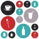 Icone piane di progettazione per le bevande Fotografie Stock Libere da Diritti