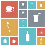 Icone piane di progettazione per le bevande Fotografia Stock