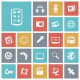 Icone piane di progettazione per tecnologia e spettacolo Fotografia Stock Libera da Diritti
