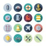 Icone piane di progettazione per trasporto Fotografie Stock