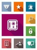 Icone piane di protezione e sicurezza Immagini Stock Libere da Diritti