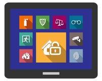 Icone piane di protezione e sicurezza Fotografia Stock Libera da Diritti