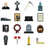 Icone piane di sepoltura e di funerale royalty illustrazione gratis