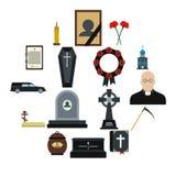 Icone piane di sepoltura e di funerale illustrazione vettoriale