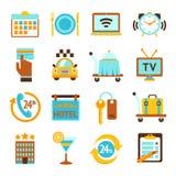 Icone piane di servizi degli esercizi alberghieri messe Immagini Stock Libere da Diritti