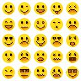 Icone piane di smiley del cerchio Fotografia Stock Libera da Diritti