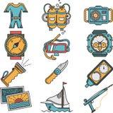 Icone piane di stile dell'attrezzatura dello scuba Immagine Stock Libera da Diritti