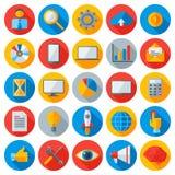 Icone piane di tecnologia del cellulare e di affari Fotografia Stock Libera da Diritti
