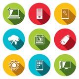 Icone piane di tecnologia di scambio di informazioni messe Immagine Stock Libera da Diritti