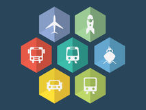 Icone piane di trasporto di progettazione Fotografie Stock