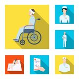 Icone piane di trattamento e della medicina nella raccolta dell'insieme per progettazione Web delle azione di simbolo di vettore  Fotografie Stock