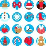 Icone piane di vacanza invernale messe Fotografia Stock
