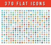 370 icone piane di vettore Fotografia Stock Libera da Diritti